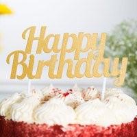 Gold Happy Birthday Cake Topper GLDHAPBDTOP