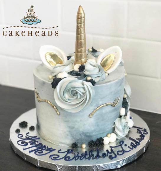 Blue Grey Unicorn Cake BLGRUNICK