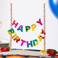 Rainbow Happy Birthday with Posts Topper RAINHBPSTTOP