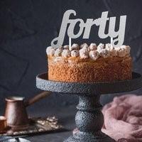 Silver FORTY Cake Topper SIL40CKTOP