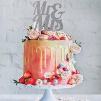 Silver MR & MRS Cake Topper SILMRMRSCKTOP