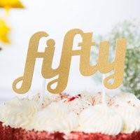 Gold FIFTY Cake Topper GLD50CKTOP