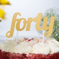 Gold FORTY Cake Topper GLD40CKTOP