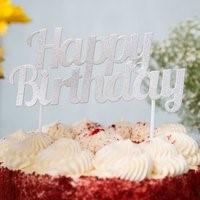 Silver Happy Birthday Topper SILHAPBIRTOP
